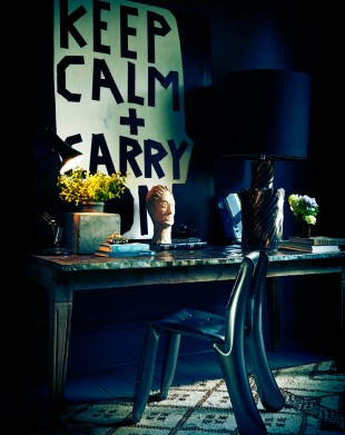 Barbara Smith's Keep Calm + Carry On in Abigail Ahern's studio