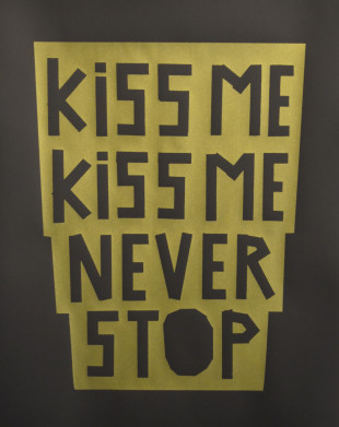 Kiss Me Kiss Me Never Stop (Gold on Black) - Screenprint by Barbara Smith