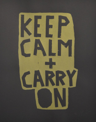 Keep Calm + Carry On (Gold on Black) - Screenprint by Barbara Smith